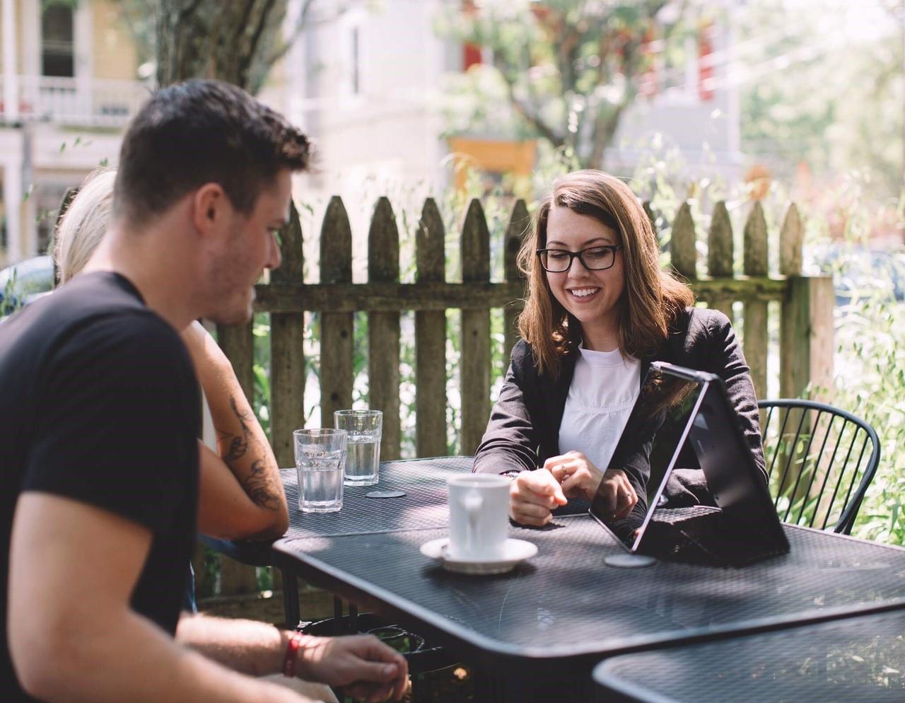 Katie Wilson with clients