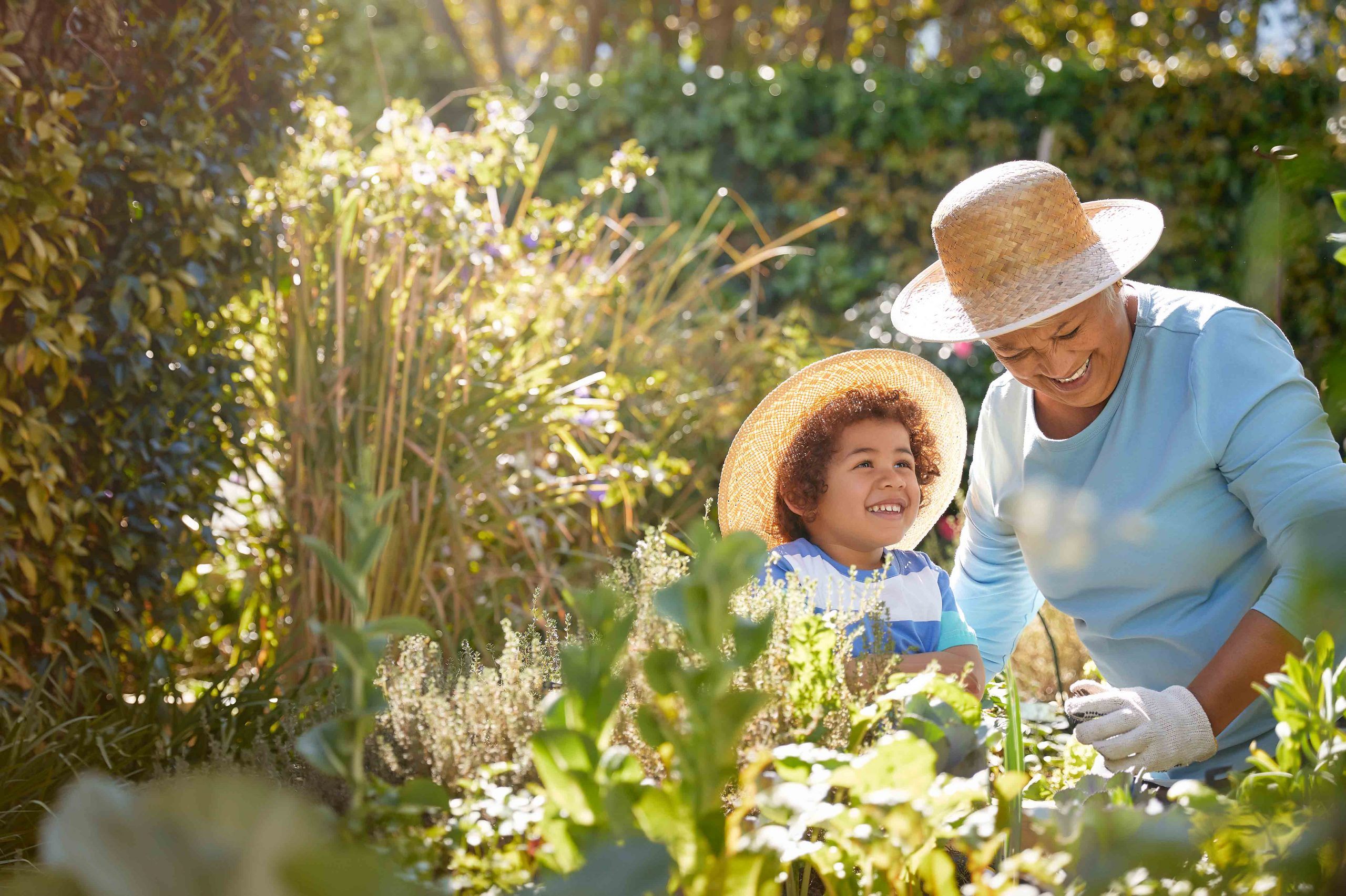 grandmother and grand son happy doing some gardening